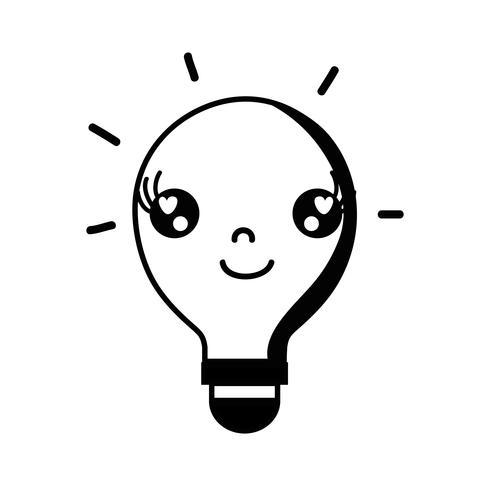 contour kawaii schattig blij lampidee vector