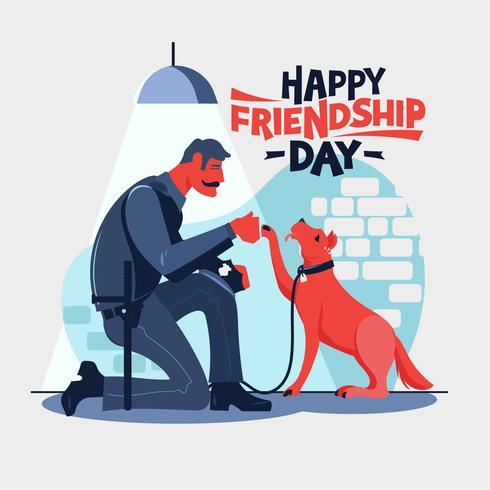Gelukkige vriendschap dag. Politieagent gaat zitten met zijn partnerhondenpolitie vector