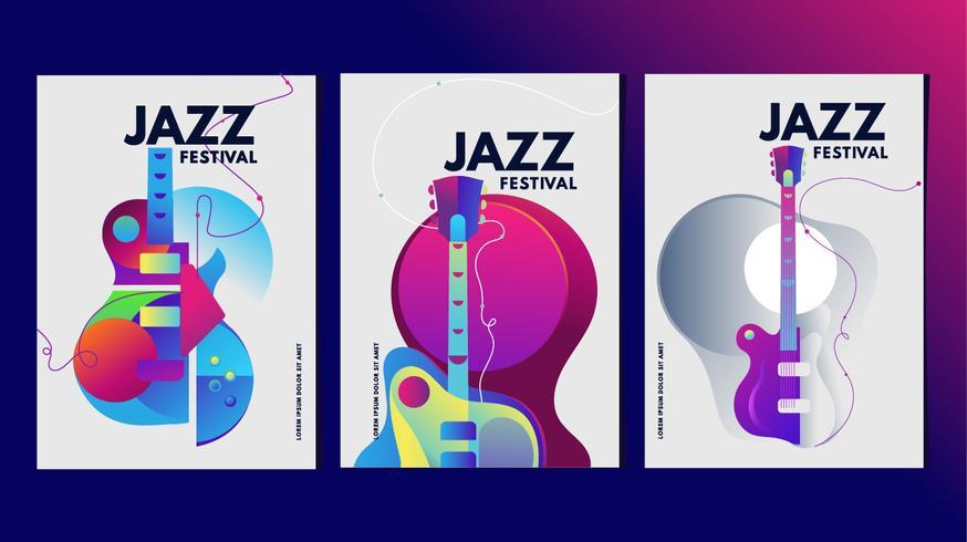 Illustratie Muziekfestival Poster of Banner Kleurrijke sjabloon vector