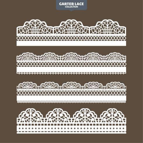 Decoratierand met kant van kant voor borduursnijpapier en lasersnit instellen vector