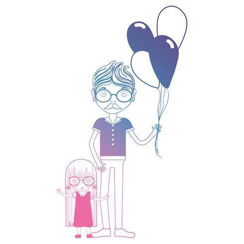 lijnvader met zijn dochter en ballonsontwerp vector