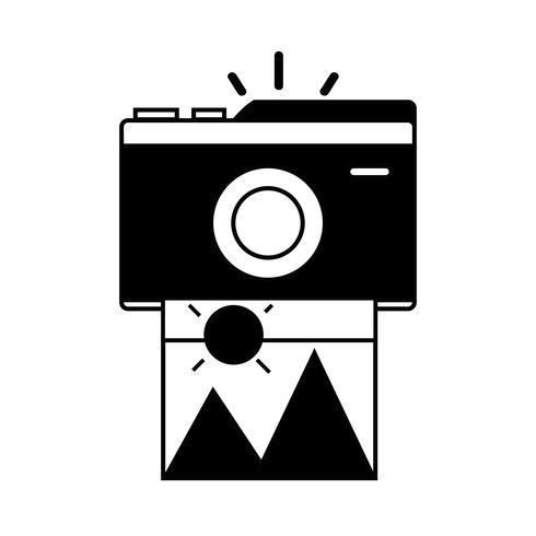 contour digitale camera met beeldkunstbeeld vector