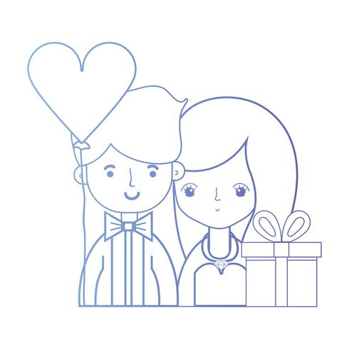 lijn schoonheid paar getrouwd met kapsel ontwerp vector