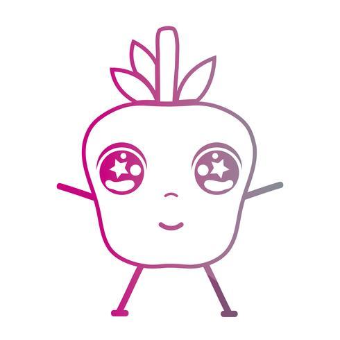 lijn kawaii schattig blij appelfruit vector