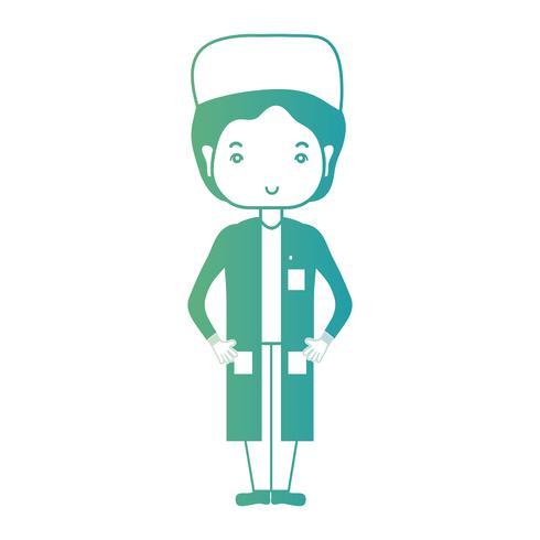 lijn man arts met uniform en kapsel ontwerp vector