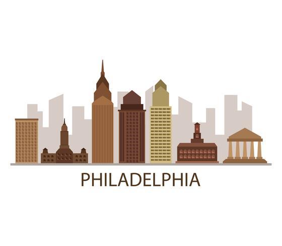 De horizon van Philadelphia op een witte achtergrond vector