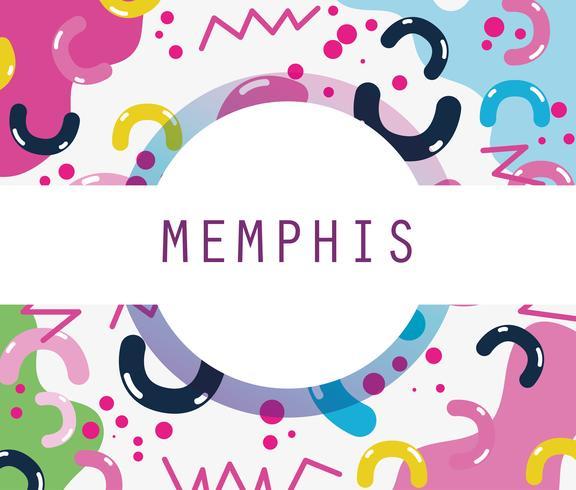 Memphis-sjabloon en achtergrond vector