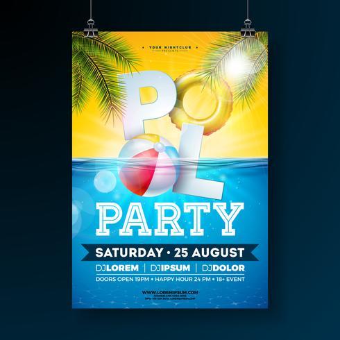 Zomer zwembad partij poster ontwerpsjabloon met palmbladeren, water, strandbal en drijven op blauwe onderwater oceaan achtergrond vector