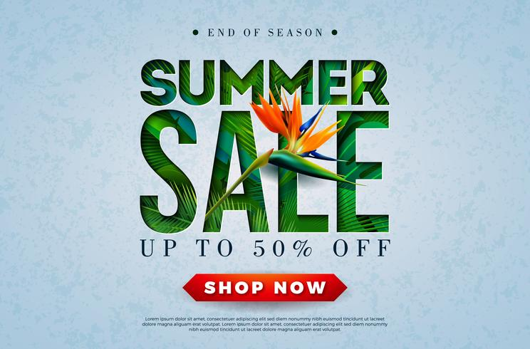 Zomer verkoop ontwerp met Toucan Bird, tropische palmbladeren en bloem op groene achtergrond. Vector speciale aanbieding illustratie met zomer vakantie elementen voor coupon