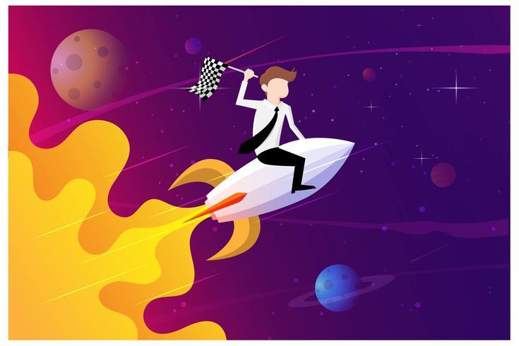 Zakenlieden die een vlagzitting op een raketschip houden die door de sterrige hemel vliegen. Start het bedrijfsconcept vector