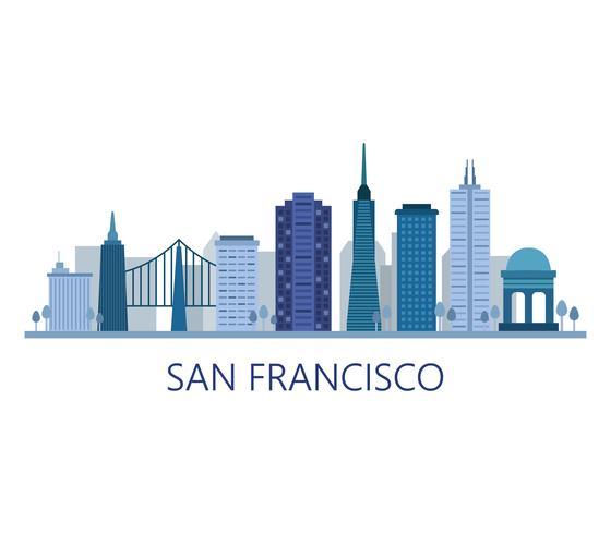 De horizon van San Francisco op een witte achtergrond vector