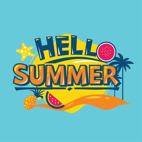 Hallo zomer. Zomervakantie. Zomer citaat vector