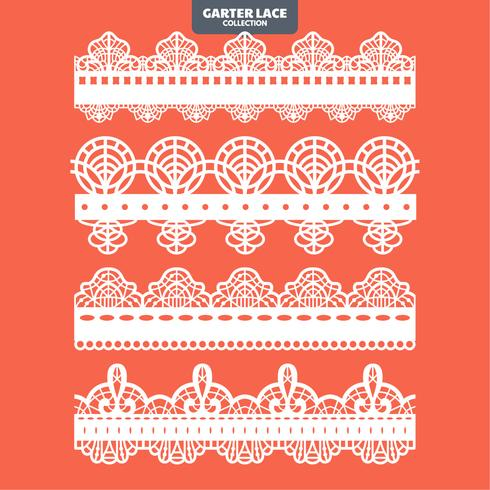 Set Garter Lace Ornament voor borduursnij-sticker en lasercut vector