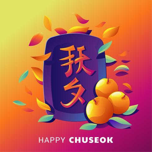 Happy Chuseok Day of Mid Autumn Festival. Koreaanse vakantie oogst vectorillustratie. Koreaans vertaalt Chuseok vector