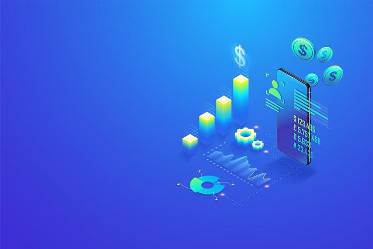 Rendement op investering ROI. Financiële berekeningen en statistische analyse, beheer van financiële grafiek, marketingonderzoek en berekening belastingaangifte-betaling op mobiele telefoon vector