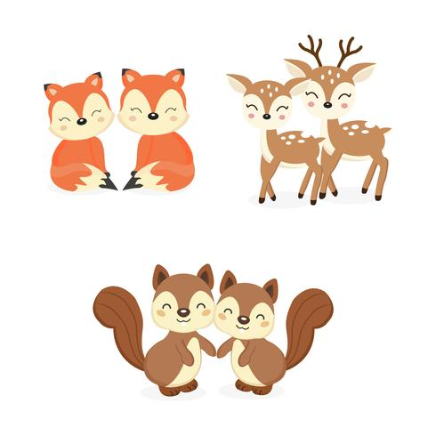 Set van schattige paar bos dieren. Vossen, herten, eekhoorns cartoon. vector