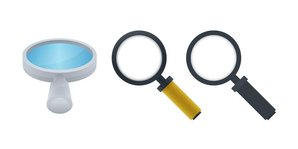Vergrootglas vector iconen