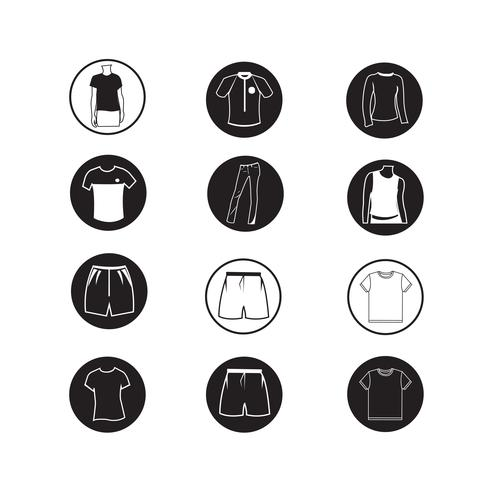 Set van kleding shirt en T-shirt pictogram kleding pictogrammen vector