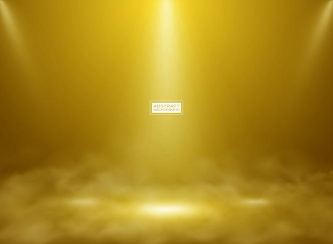Abstracte gouden kleur studio mockup achtergrond. Decoreren voor het tonen van product, poster, presentatiekunstwerk met rook. vector