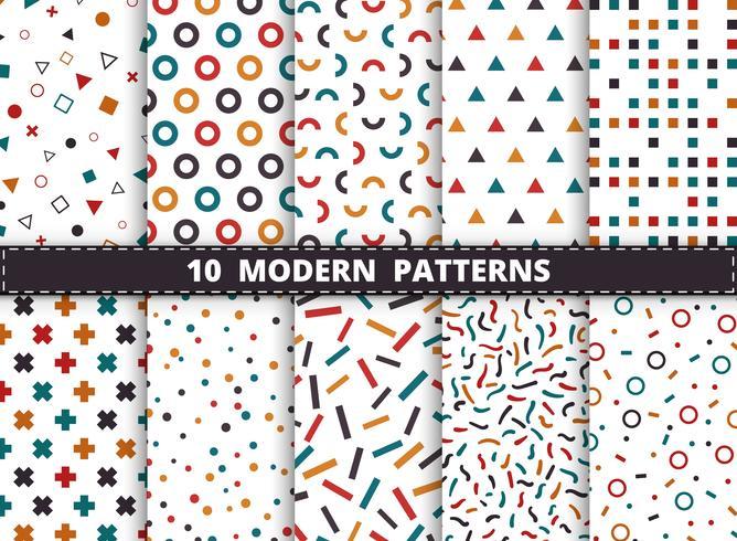 Abstract kleurrijk modern geometrisch patroon dat op witte achtergrond wordt geplaatst. Decoreren voor stijl van geometrische ontwerpkunstwerken, advertentie, inpakken, afdrukken. vector