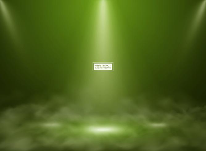 Abstracte groene kleur studio mockup achtergrond. Decoreren voor het tonen van product, poster, presentatiekunstwerk met rook. vector