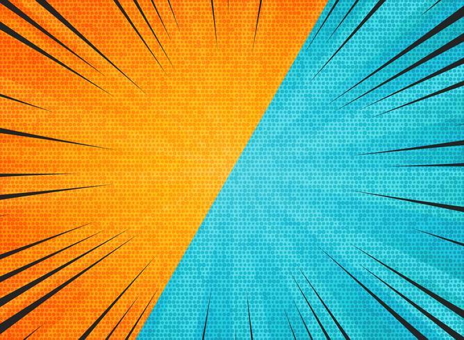 Abstracte zon barstte contrast oranje blauwe kleuren achtergrond. U kunt gebruiken voor hete verkooppromotie, versus, vechtadvertentie, poster, omslagontwerp. vector