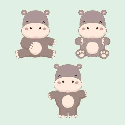 Weinig nijlpaard cartoon. vector