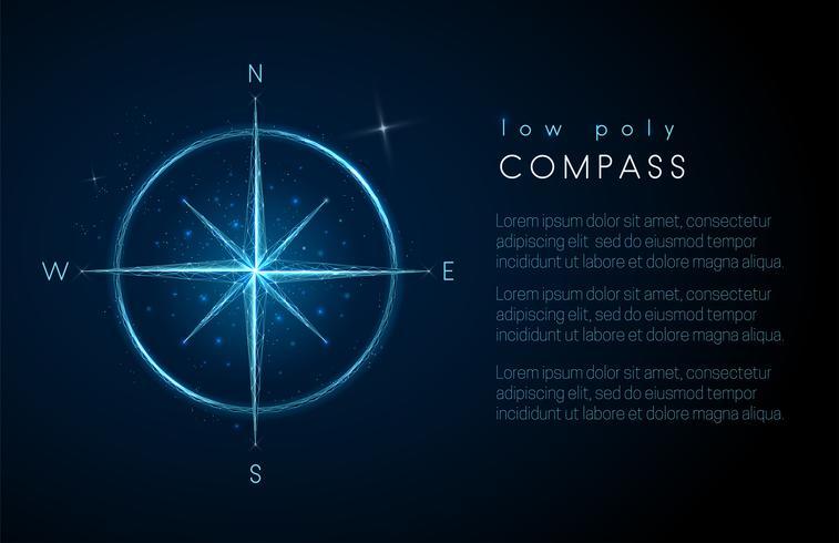 Abstract kompas pictogram. Ontwerp met lage polystijl vector