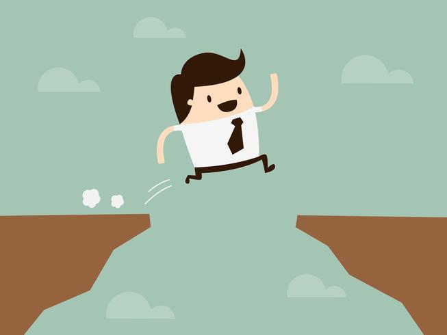 Springen. Zakelijke Cartoon Concept Illustratie. Idee concept. vector