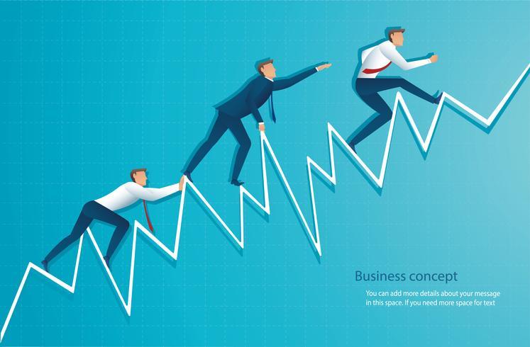 zakenman loopt op de grafiek, de werknemer loopt naar de top van de pijl, succes, prestatie, motivatie bedrijfssymbool vectorillustratie vector
