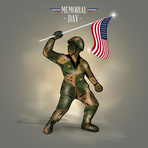 Memorial dag vlag soldaat vector