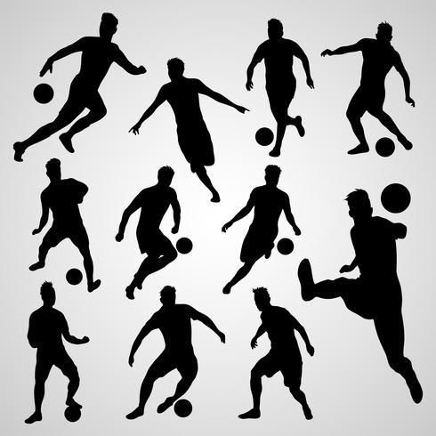 silhouetten zwarte voetballers vector