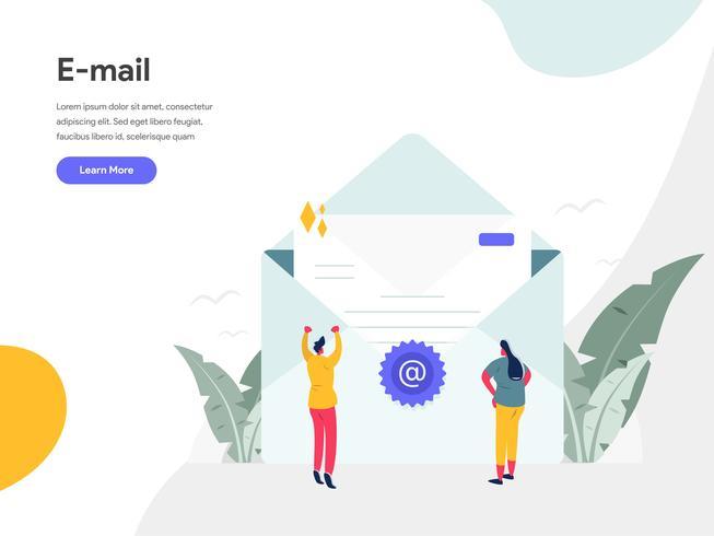 E-mail Illustratie Concept. Modern vlak ontwerpconcept Web-paginaontwerp voor website en mobiele website Vector illustratie Eps 10