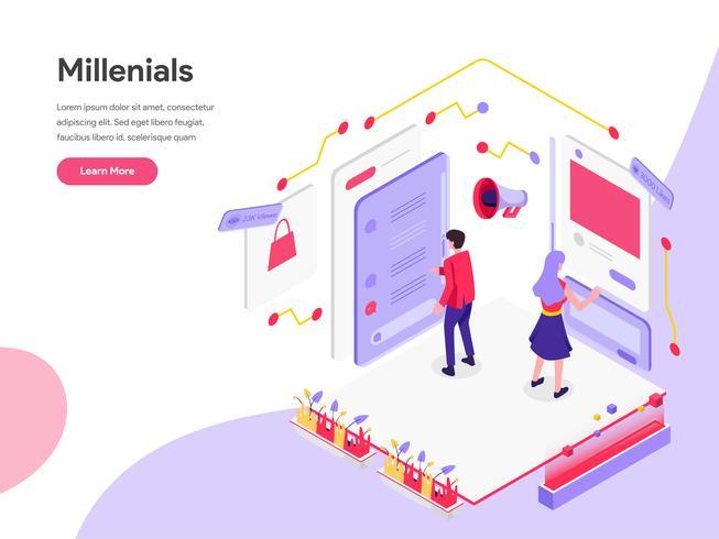 Landingspagina sjabloon van millennials en sociale media isometrische illustratie concept. Isometrisch plat ontwerpconcept webpaginaontwerp voor website en mobiele website Vector illustratie