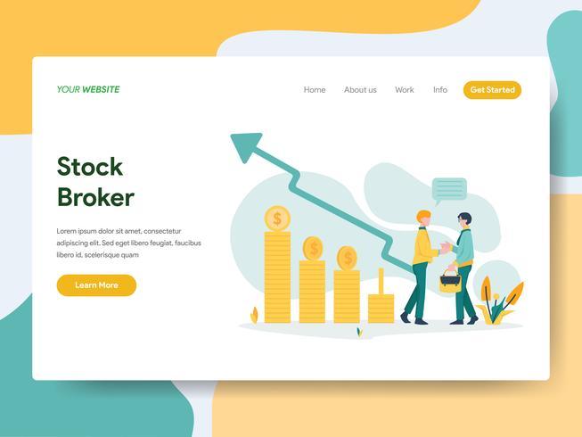 Landingspagina sjabloon van Stock Broker Illustratie Concept. Modern Vlak ontwerpconcept Web-paginaontwerp voor website en mobiele website Vector illustratie