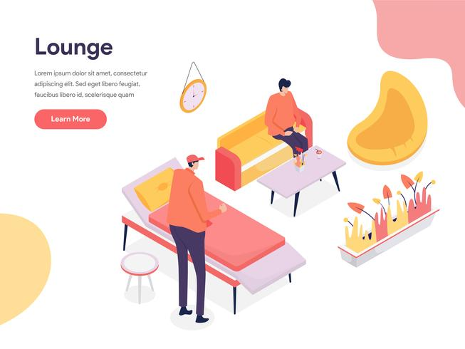 Lounge Space Illustratie Concept. Isometrisch ontwerpconcept webpaginaontwerp voor website en mobiele website Vector illustratie