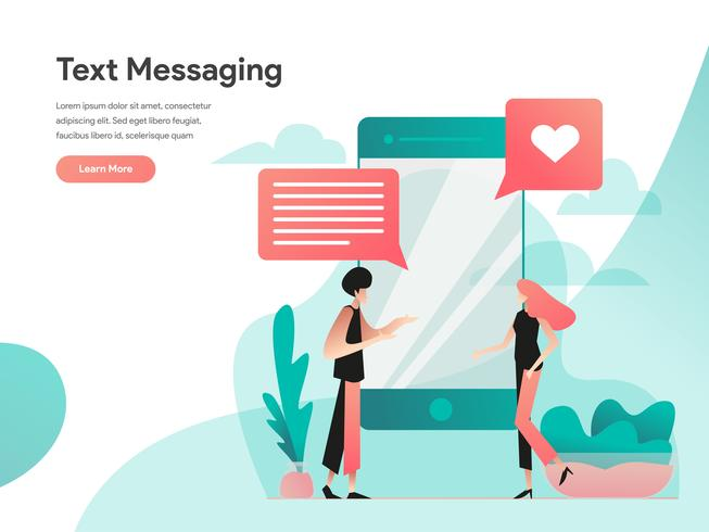Tekstberichten Illustratie Concept. Modern vlak ontwerpconcept Web-paginaontwerp voor website en mobiele website Vector illustratie Eps 10