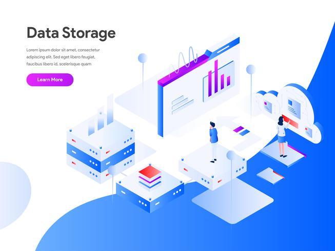 Data opslag isometrische illustratie Concept. Modern vlak ontwerpconcept Web-paginaontwerp voor website en mobiele website Vector illustratie Eps 10
