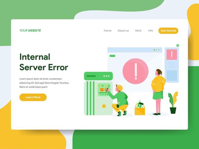 Bestemmingspaginasjabloon van het Concept van de Illustratie van de Interne Serverfout. Modern Vlak ontwerpconcept Web-paginaontwerp voor website en mobiele website Vector illustratie