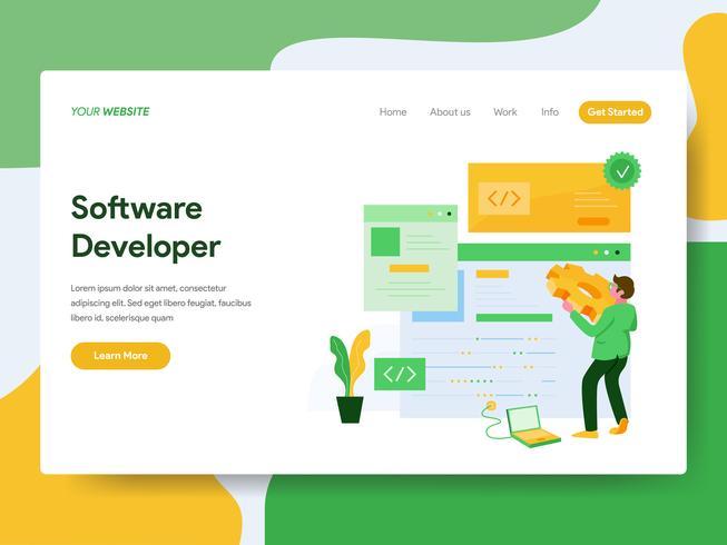Landingspagina sjabloon van Software Developer illustratie Concept. Modern Vlak ontwerpconcept Web-paginaontwerp voor website en mobiele website Vector illustratie