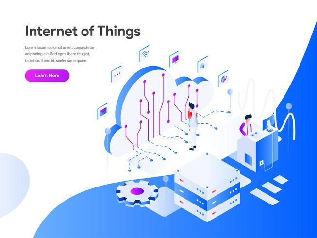 Internet van dingen isometrische illustratie Concept. Modern vlak ontwerpconcept Web-paginaontwerp voor website en mobiele website Vector illustratie Eps 10