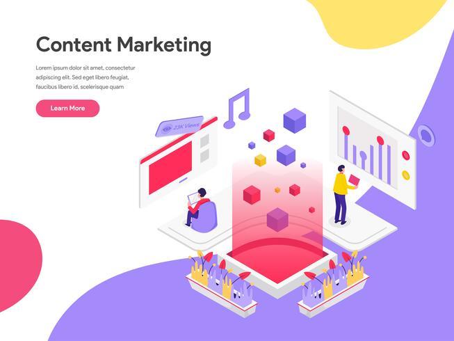 Landingspagina sjabloon van Content Marketing Illustratie Concept. Isometrisch plat ontwerpconcept webpaginaontwerp voor website en mobiele website Vector illustratie