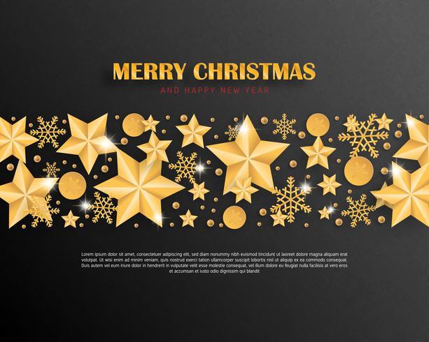 Vrolijke Kerstmis en gelukkig Nieuwjaar luxe wenskaart luxe papier gesneden stijl achtergrond. Vector illustratie Kerstviering met decoratie voor banner, flyer, poster, behang, sjabloon.