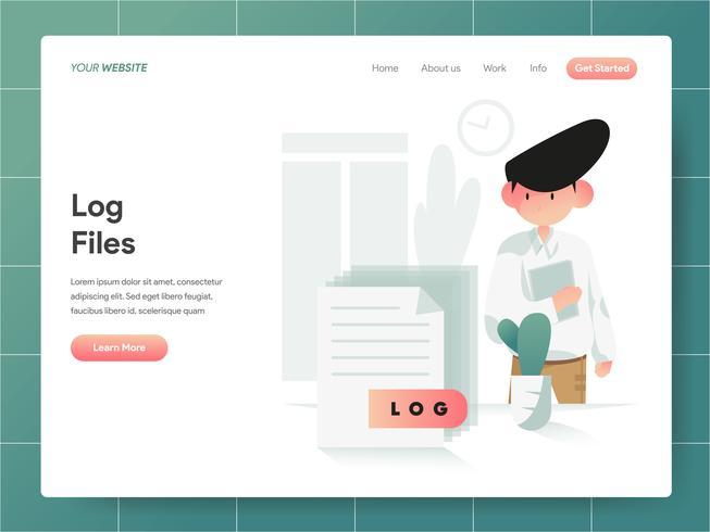 Computer log bestand illustratie concept. Modern ontwerpconcept Web-paginaontwerp voor website en mobiele website Vector illustratie Eps 10