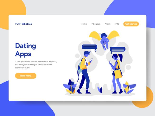 Landingspagina sjabloon van paar met dating apps illustratie concept. Modern plat ontwerpconcept webpaginaontwerp voor website en mobiele website Vector illustratie