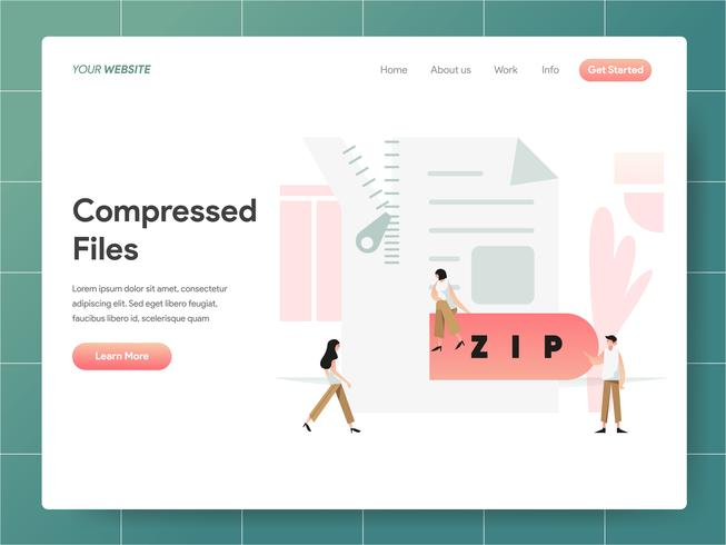 Gecomprimeerd bestand illustratie concept. Modern ontwerpconcept Web-paginaontwerp voor website en mobiele website Vector illustratie Eps 10