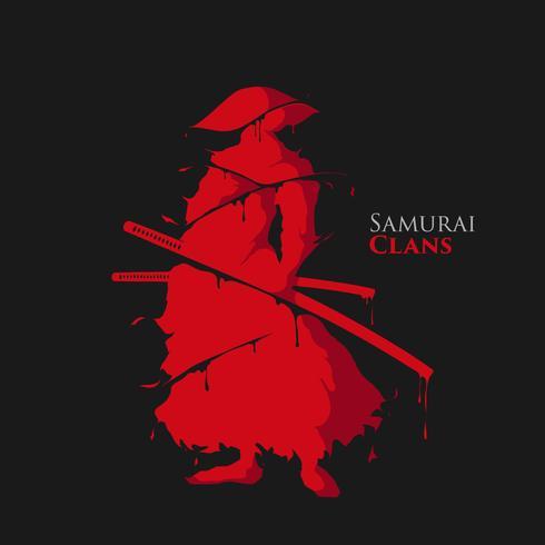 samurai krijger splash vector