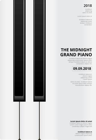 Van de achtergrond muziek Grote Piano Affichemalplaatje Vectorillustratie vector