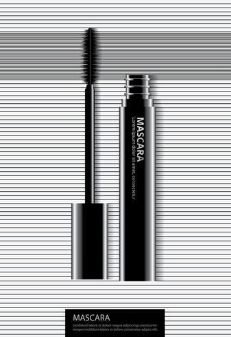 Poster cosmetische mascara met verpakking vectorillustratie vector