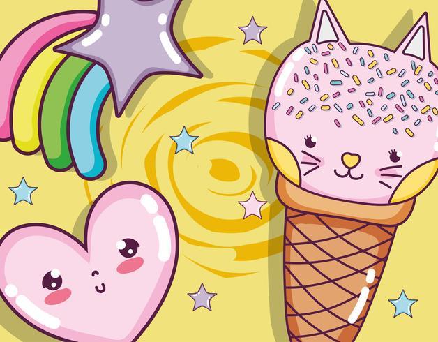Katten en ijs vector